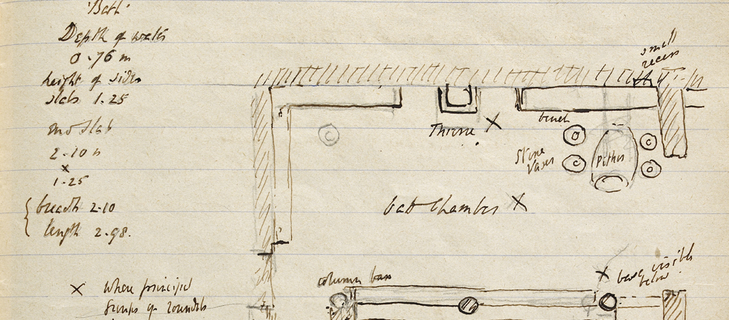 A page from Arthur Evans's notebook from the first season of excavations at Knossos, 1900