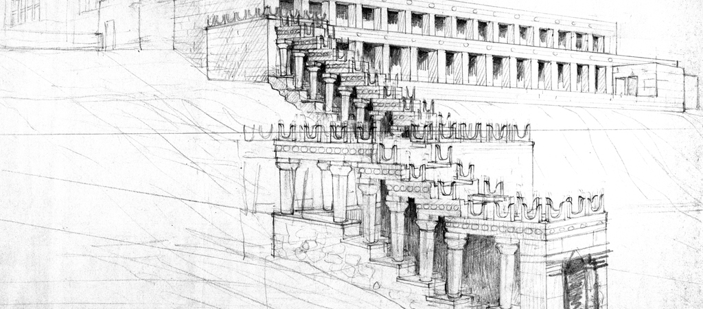 Reconstruction drawing of the South Stepped Portico by Francis Newton, 1922-1924