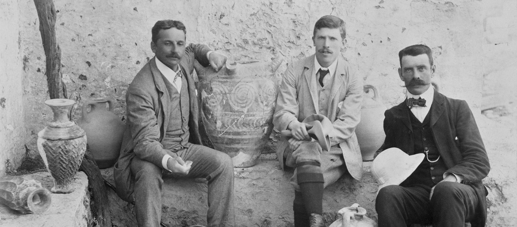 Arthur Evans, Theodore Fyfe, and Duncan Mackenzie at Knossos, 1900