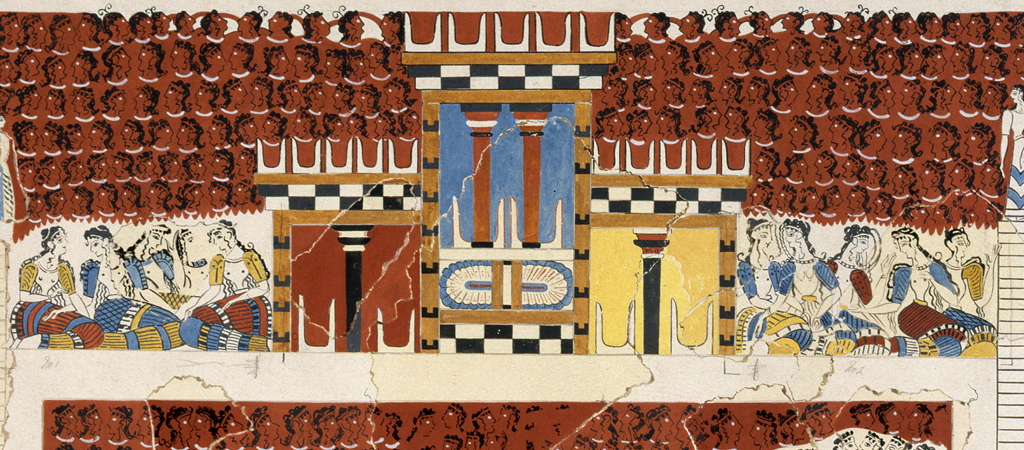 Reconstruction drawing of the 'Grandstand and Temple' miniature fresco, Emile Gilliéron the younger, around 1925